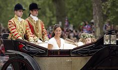 Pippa left by carriage to head to Buckingham Palace with the flower girls after the wedding.