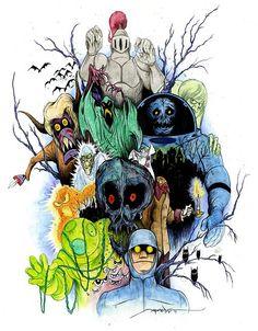 Scooby Doo villains by Alex Pardee. Cartoon Shows, Cartoon Art, Scooby Doo Tattoo, Alex Pardee, Desenho Tattoo, Classic Cartoons, Disney Cartoons, 80 Cartoons, Scary Movies