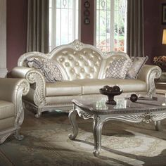 Meridian Pearl White Marquee Loveseat With Reversible Crystal Tufted Cushion