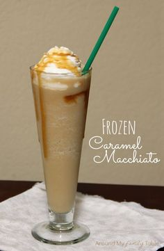 Make your own Frozen Caramel Macchiato at home with this copycat coffee recipe. It tastes just like a drink you would buy at Starbucks, if not better!