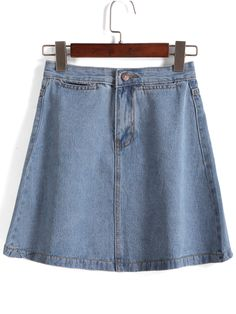With Button A-Line Denim Skirt 12.00