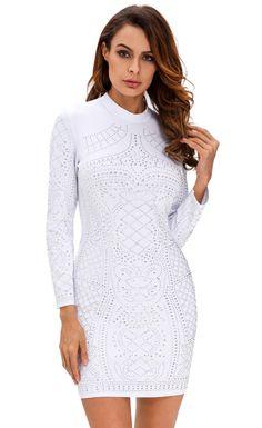 Studded Long Sleeves Dress Club Dresses 20eb80701f4b
