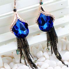 Long blue crystal tassel earrings