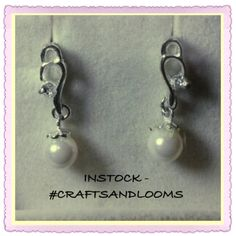 Beautiful #Earrings #Silver 92.5 #pearl white #craftsandlooms - creative@craftsandlooms.com #Instock