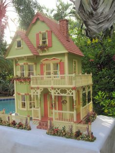 If you want a Victorian dollhouse, your choices are innumerable. There are examples of every possible color combination and scale. This is a classic one pictured on several websites. There is sure to be a kit to start with that will make your very Victorian heart skip a beat.