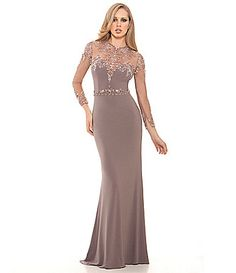 Lasting Moments Illusion Beaded Neckline Gown #Dillards