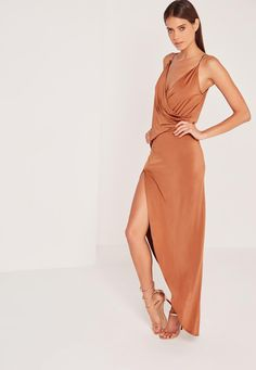 Missguided - Slinky Chain Strap Maxi Dress Brown