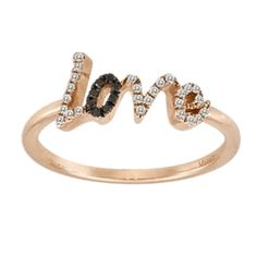Meira T Rose Gold Diamond Black Diamond Love Ring - Meira T will be donating 20 percent of the sales of this ring to the Susan G Komen Cure Foundation. Womens Jewelry Rings, Gemstone Jewelry, Jewelry Accessories, Women Jewelry, Rose Gold Diamond Ring, Black Diamond, Initial Bracelet, Love Ring, Jewelery