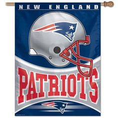 "NFL New England Patriots 27-by-37-Inch Vertical Flag by WinCraft. $19.95. Made in USA. Washable. Indoor or outdoor use. Perfect for the No.1 fan. Vibrant Colors. Let the neighbors know who you stand behind with this officially licensed NFL flag. Hang it from an outdoor pole or inside as wall decor. The WinCraft Vertical Flag is made of durable 100% polyester with a 2.5"" pole sleeve. Machine washable. Poles and hardware not included. Made in USA. Sz: 27"" x 37""."