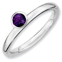0.24ct Silver Stackable High 4mm Round Amethyst Ring. Sizes 5-10 Available Jewelry Pot. $24.99. Your item will be shipped the same or next weekday!. All Genuine Diamonds, Gemstones, Materials, and Precious Metals. 30 Day Money Back Guarantee. 100% Satisfaction Guarantee. Questions? Call 866-923-4446. Fabulous Promotions and Discounts!. Save 63%!