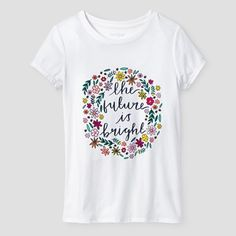 Girls' Future is Bright Graphic Tee Cat & Jack Abalone White XL, Girl's