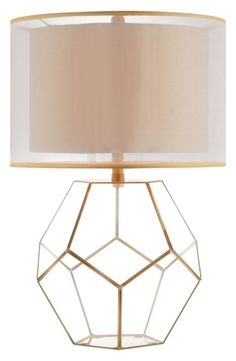 Fans of geometry will appreciate the pentagonal glass panels that make up a charming lamp featuring one removable panel so you can add your own decorative touch inside. The double-drum shade enhances the architectural look.