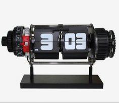 Fashion gear auto flip clock belt power supply movement flip clock $59.56