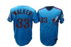 Mitchell and Ness Expos #33 Larry Walker Blue Embroidered Throwback MLB Jersey! Only $21.50USD