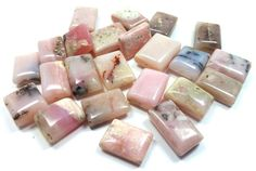 Pink Peruvian Opal Rectangle Chicklet Beads by ItsAJewelryThing