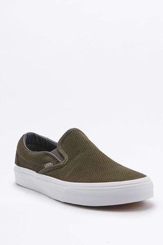 Vans Classic Perforated Khaki Suede Slip-On Trainers