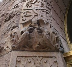 Rooks carved into the entry arch