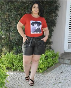 Bermuda Shorts, Plus Size, T Shirt, Leather, Tops, Women, Fashion, Supreme T Shirt, Moda