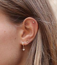 Second Hole Earrings, Tiny Stud Earrings, Cute Earrings, Star Earrings, Simple Earrings, Earring Studs, Earings Gold, Gold Studs, Vintage Earrings