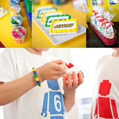 Lego Party Ideas I could make iron-on tees for the boys