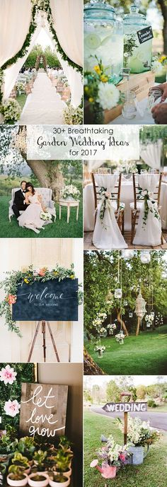 top 30 brilliant garden themed wedding ideas for 2017 trends:  drink stations, chair deco, hanging candleholders, welcome sign