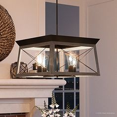 Luxury Industrial Chic Chandelier Medium Size: 12H x 20W with Modern Farmhouse Style Elements Olde Bronze Finish UHP2122 from the Berkeley Collection by Urban Ambiance ** Be sure to check out this awesome product.-It is an affiliate link to Amazon. #DiningRoomLighting