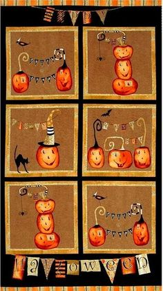 """Cotton Quilt Fabric Panel Cheeky Pumpkins Halloween 23""""x 44"""" - product images  of"""