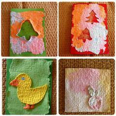 výroba vánočního přání, výroba ručního papíru, Výroba přání z vlastnoručně doma zhotoveného ručního papíru