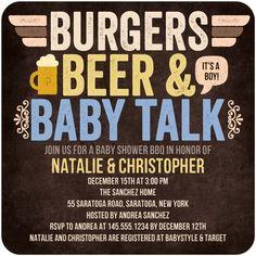 Baby Shower Invitations Burgers Beer n' Baby - Front : Ocean