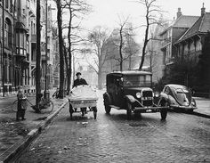 1952. Jan Luijkenstraat, Amsterdam.  Mail delivery by PTT cargo bike. #amsterdam #1952