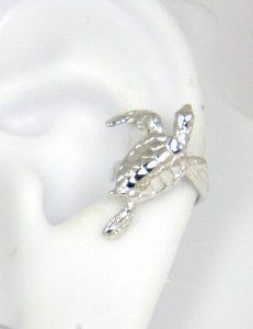 Sterling Silver Turtle Ear Cuff Left Earring - This adorable turtle ear cuff will climb up your ear and into your heart.  What a great stocking stuffer for any animal lover!