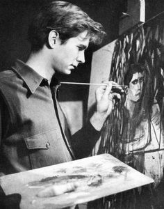 Anthony Perkins painting a self-portrait, 1954 ~ my neighbor in  NY in the 70's