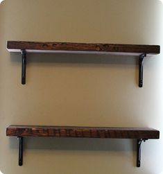 diy reclaimed wood shelves-- from scrap piles at Home Depot, get the expensive West Elm look for a fraction of the price Office DIY Decor, Office Decor, Office Ideas Wood Shelf Brackets, Reclaimed Wood Shelves, Wooden Shelves, Pallet Shelves, Book Shelves, Floating Shelves, Barn Wood, Rustic Wood, Distressed Wood
