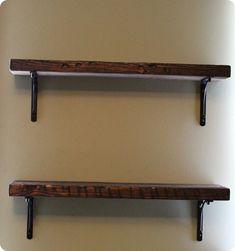rustic wood shelf brackets | ... by the Reclaimed Wood Shelf and Black Basic Bracket from West Elm