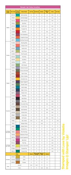 An inventory chart - see what you have at a glance! Stampin' Up! - created by Amy McCall - Stamped with Love by Violette - includes in colours for 2017-2019