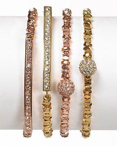 Michael Kors Rose Gold Beaded Pavé Ball Bracelet | Bloomingdale's