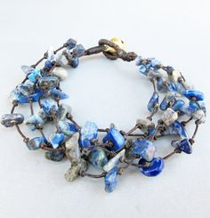 Lapis Lazuli Chip Stone Multi Line Bracelet by Summerwrist on Etsy, $5.00