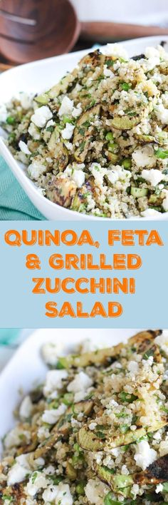 Use up that excess zucchini crop in this really simple Quinoa, Feta and Grilled Zucchini Salad. The grilled zucchini adds a delicious smoky element to the salad, and leftovers are great for the lunchbox. #zucchinisalad #recipes #thecookspyjamas #grilled #quinoa #healthy #summer #salad