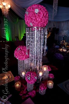 Diy Wedding Table Decorations Centerpieces Receptions 17 Ideas For 2019 Bling Centerpiece, Sweet 16 Centerpieces, Flower Centerpieces, Centerpiece Ideas, Crystal Centerpieces, Diy Birthday Decorations, Wedding Table Centerpieces, Pink Decorations, Quinceanera