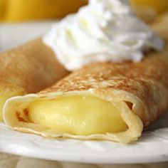 Lemon Crepe Recipe.  Can substitute easy Jello vanilla pudding frosting recipe to substitute for the lemon filling.