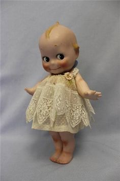 "Huge 12"" Antique German Bisque Kewpie c1915 Two Labels Signed O'Neill Dressed"