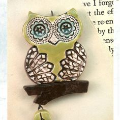 Cute pottery owl necklace