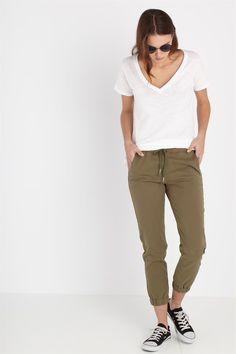 the cuffed chino Jeggings, Joggers, Sweatpants, High Waist Jeans, Pants For Women, Khaki Pants, Dressing, Womens Fashion, Cotton