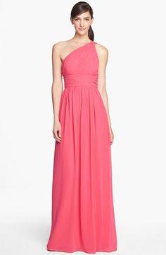 Donna Morgan 'Rachel' Ruched One-Shoulder Chiffon Gown (Regular & Plus) | Nordstrom