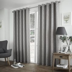 View the Harlow Readymade Eyelet Lined Curtains in Silver! Visit Terrys Fabrics for quality products at a more than affordable price! Ready Made Eyelet Curtains, Curtains Uk, Custom Made Curtains, Coastal Curtains, Lined Curtains, Colorful Curtains, Bedroom Curtains, Houses, Curtains