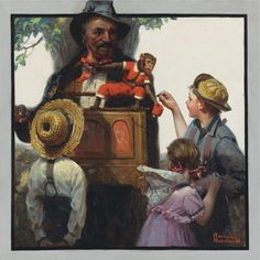"""Norman Rockwell - """"The Organ Grinder"""", 1920 oil on canvasboard, 57.2 x 57.2 cm. (22.5 x 22.5 in.) Norman Rockwell Prints, Norman Rockwell Paintings, Famous Artists, Great Artists, The Saturdays, Pin Up, Thing 1, Best Artist, Watercolor Illustration"""