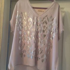 DKNY Sequin Blush Top Worn once, like new. Beautiful blush colored top with sequin details and delicately frayed edges. Perfect for summer nights out. Dry clean only*** DKNY Tops Blouses