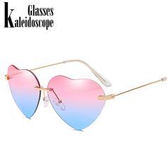 a5328b6a48d2b Kaleidoscope Glasses Heart Sunglasses Women Love Lolita Rimless Frame Clear  Transparent Tint Sun Glasses Vintage Frameless UV400 Review