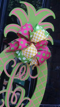Pineapple Monogram Door Hanger Summer Double Door Monograms Pineapple Lime Green Hot Pink Welcome Decor Door & Christmas Monogram Door Hanger Christmas Red Decor Monogram ...