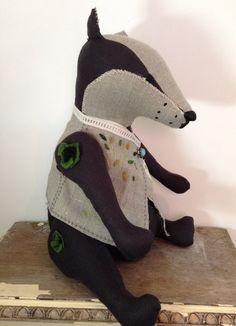 Bellamy Badger badger doll badger soft sculpture by BetsyBadge